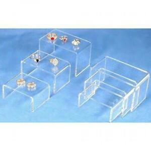 6 Clear Jewelry Display Showcase Fixtures Risers Acrylic
