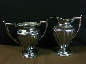 Antique Forbes Silver Co Silver Plated Beaded Open Sugar Bowl Creamer 186