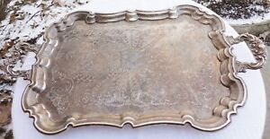 Leonard Silver Plated 23 Serving Tray Platter Floral Handles Claw Footed