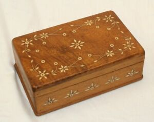 Vintage Cream White Inlay Wooden Hinged Jewelry Trinket Cigar Style Box Chest