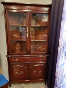 Antique Cherry Matching Set Of 2 Corner Curio Cabinets