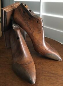 Antique Continental Wood Shoe Mold Form Bookends Set Of Two Size 10aa High Heel