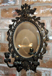 Antique Brass Frame Lion Beveled Oval Mirror Triple Candle Holder Wall Sconce
