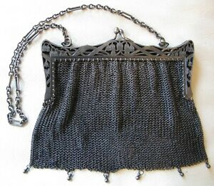 Antique Art Nouveau Gun Metal Pierced Floral Frame Tassel Mesh Purse Vienna