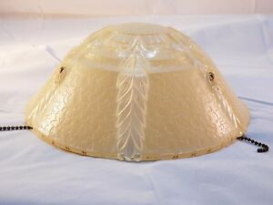 Vintage 3 Chain Victorian Art Deco Beige Ceiling Light Lamp Shade Free Shipping