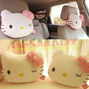 2 Pcs Cute Hello Kitty Seat Head Neck Rest Cushion Pillows For Auto Car Home Us