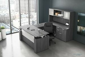 Electric Height Adjustable Stand Up U Shaped Desk And Hutch Set In Many Colors