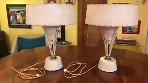 Pair Of Vintage Mcm Table Lamps Atomic Starburst With Shades Spectacular Rare