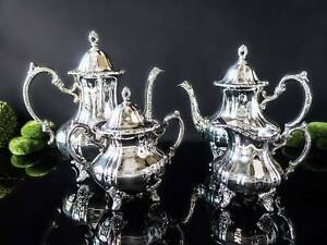 Vintage Towle Silver Plate Coffee Tea Service Set Grand Duchess Beautiful Cond