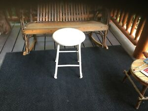 Vintage Industrial Stool White Metal Chair Wood Seat Factory Shop Bar Round Nice