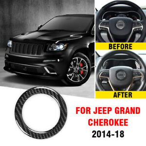 Steering Wheel Ring Frame Trim For Jeep Grand Cherokee 14 18 Carbon Fiber Style