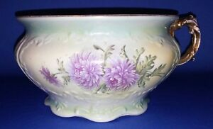 Charming Antique Porcelain Floral Chamber Pot Sterling