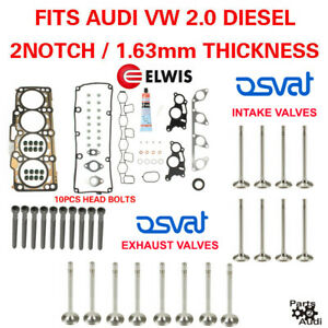 Oe Cylinder Head Gasket Set W Bolts Intake Exhaust Valves Vw Diesel 2 0 2 Notch