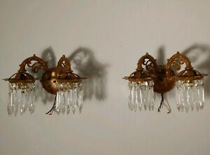 Pair Of Antique 1920s Bronze Wall Sconces With 2 Lights Prisms Portugal