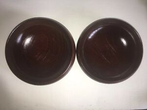 Set Of 2 Vintage Teak Wood Bowl Dark Brown 5