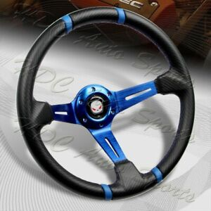 350mm Deep Dish Drift Style Blue Stitch Carbon Pvc Leather 6 Hole Steering Wheel