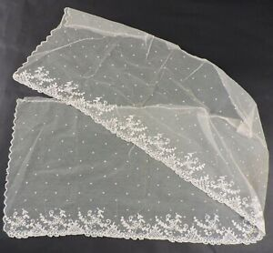 Beautiful Antique 19th C Hand Made Tambour Lace Veil For Bonnet