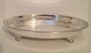 Leona Silverplate Footed Tray Pierced Gallery Edge Vintage Oval