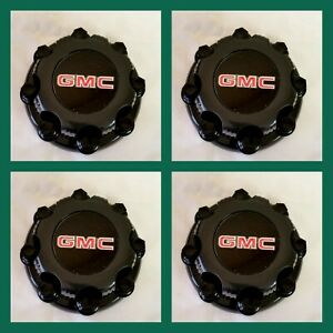 Center Caps Select Chevy Gmc Truck Van 8 Lugs Black set Of 4 16 Inch Wheel