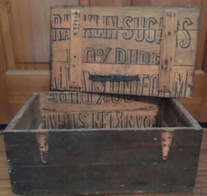 Antique Wooden Primitive Box Made From Franklin Sugar Shipping Crate