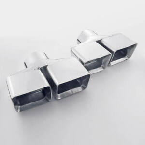3 Inlet Dual Rectangle Outlet Slant Cut Staggered Exhaust Tips Stainless Steel