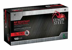 Venom Steel Nitrile Gloves Rip Resistant Disposable Latex Free Black Gloves 2