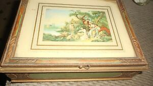 Vintage Wood Dresser Jewelry Box With Victorian Scene Mirror