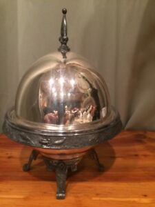 Meriden Silver Quad Plate Aesthetic Movement Butter Dome Metal Insert