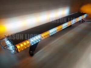 55 Inch Amber White Led Emergency Strobe Light Bar Truck Roof Top Warning 104w