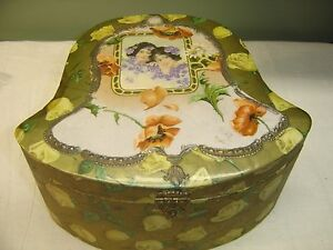 Antique Bell Shaped Celluloid Collar Box The Cover Is Gold W Yellow Roses 7382