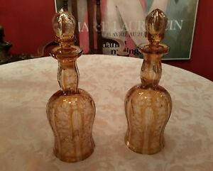 Pair 2 Of Decanters Victorian Bohemian Cut Glass Yellow Clear Cut