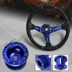 For 02 06 Acura Rsx 350mm Blue Stitch Carbon Pvc Steering Wheel bl Aluminum Hub