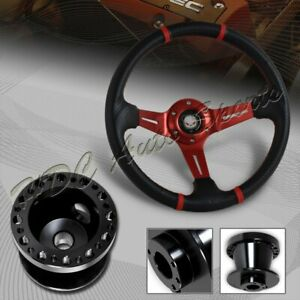 For 02 06 Acura Rsx 350mm Red Stitch Carbon Pvc Steering Wheel bk Aluminum Hub