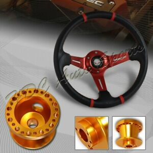 For 96 00 Honda Civic 350mm Red carbon Pvc Steering Wheel orange Aluminum Hub