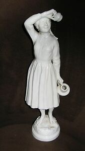Vtg Milkmaid Farm Girl Dairy Sculpture Herend Hungary Maiden Statue 12 Antique