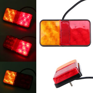 12v 10 Led Tail Lights Red Yellow Smoke Rear Lamps Universal Fit Truck Trailers