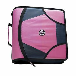 Zipper Binder Pink Zip Tab D Ring With File Folder King Sized 4 Inches Supplies