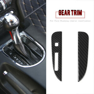 Interior Gear Shift Panel Cover Molding Decor Fit Ford Mustang15 17 Carbon Fiber