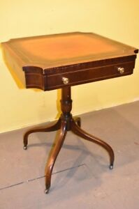 Antique Vintage Leather Top Side Accent Table With Spider Legs