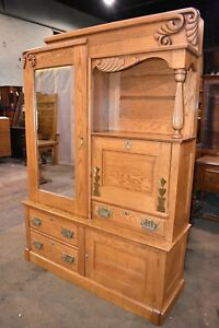 Gorgeous 2 Piece Restored Solid Oak Display Cabinet With Drop Front Secretary