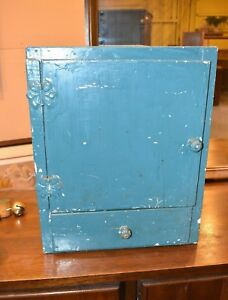 Primitive Vintage Blue Painted Wood Wall Cabinet Cupboard