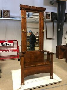 Antique Hall Seat Coat Tree Stand W Mirror Storage Bench