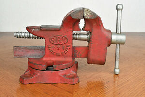 Red Rugol Swivel Bench Vise Model 821 Made In Japan 8 Lb 3 Jaw Opens To 3 75