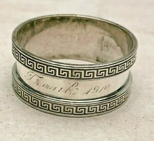 Antique Napkin Ring Greek Key Border Sterling Silver Made By Hartford Silver Co