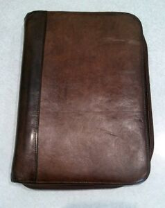 Distressed Wilsons Genuine Leather Planner Organizer Brown 3 Rings Classic