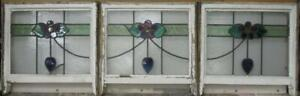 Set Of 3 Old English Leaded Stained Glass Windows Floral Band 67 5 X 18 5