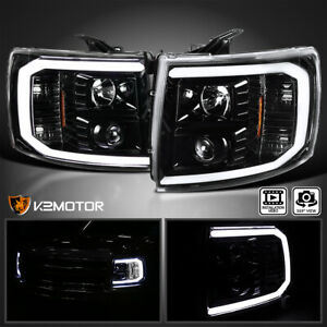 For Jet Black 2007 2014 Chevy Silverado 1500 Led Drl U Bar Projector Headlights