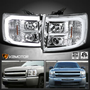 For 2007 2014 Chevy Silverado 1500 2500hd Led Drl U Bar Projector Headlights