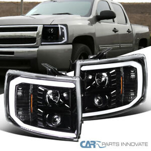 For Chevy 07 14 Silverado Pickup Led Pearl Black Projector Headlights Head Lamps