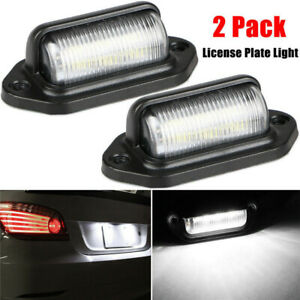 2x Universal 6 Led License Plate Tag Lights Lamps For Truck Trailer Waterproof